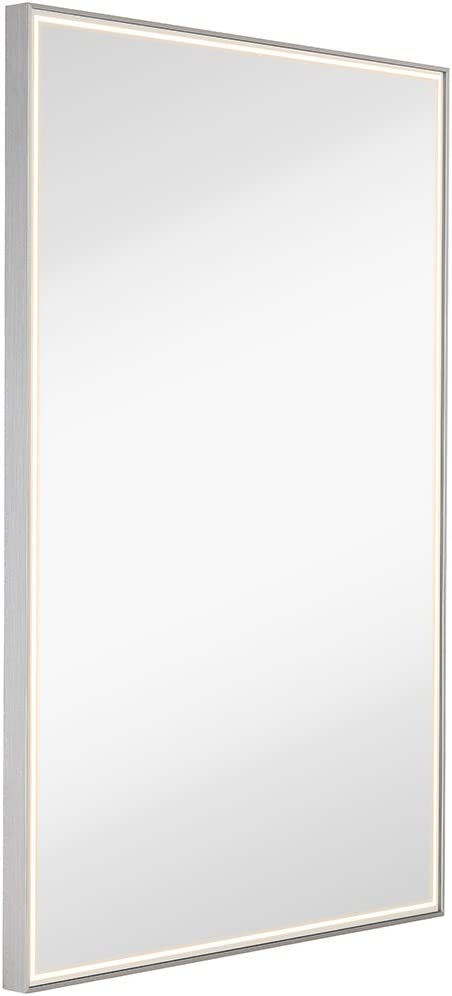 Amazon Com Hamilton Hills Brushed Metal Mirror With Lights Lighted Backlit Led Wall Mirror Contemporary Glass Illuminated Thin Frame Hanging Vertical Or Horizontal Rectangle 24 X 36 Kitchen Dining