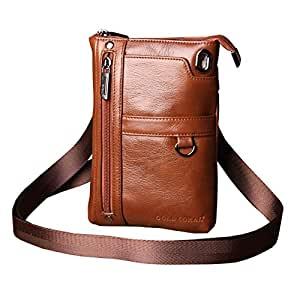 Leather Men's Mobile Phone Bag Travel Shoulder Bag Mobile Phone/Mobile Phone Bag Men's Casual Messenger Bag (Color : Brown, Size : S)