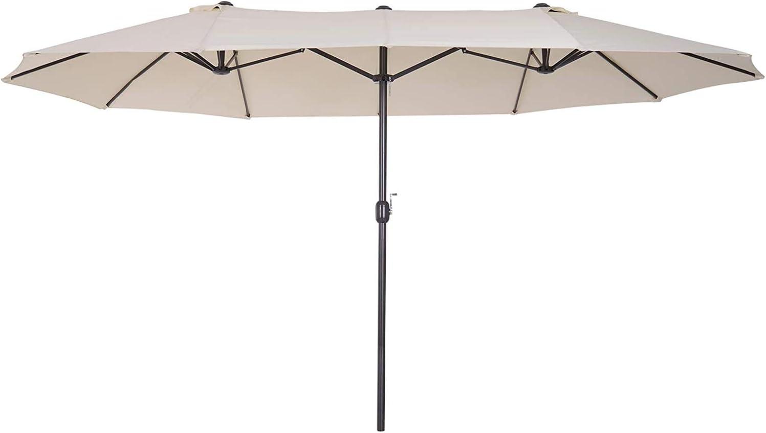 Angel Living Sombrilla Parasol Doble para Jardín, Parasol de Tela de Poliéster, Sombrilla Gigante para Playa Terrasa Patio, Protección al Solar UV, 4.6x2.7x2.4 m (Crema)