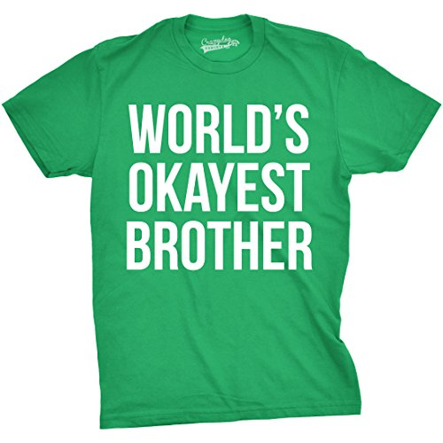 Mens Worlds Okayest Brother Shirt Funny T Shirts Big Brother Sister Gift Idea (Green) - XL ()