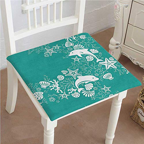 - Mikihome Outdoor Chair Cushion Teal Sea Dolphins and Sea Star Seashell Wallpaper Art Teal White Comfortable, Indoor, Dining Living Room, Kitchen, Office, Den, Washable 28