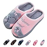 Women's & Men's Comfort Memory Foam Slippers Breathable Fuzzy Slip on Clog House Shoes w/Indoor Outdoor Anti-Skid Sole (Women 6-6.5M, Grey Cat)