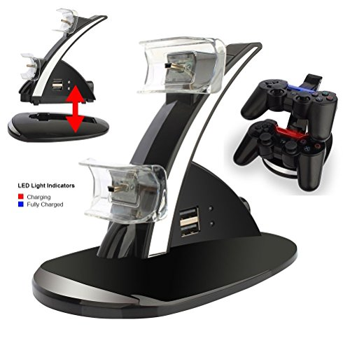 PS3 Playstation 3 Controller Charger, ELM Game Dual Controller Charger Charging Docking Station Stand for Playstation 3 PS3 with LED Indicators, Black by ELM Game