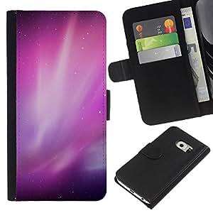 KingStore / Leather Etui en cuir / Samsung Galaxy S6 EDGE / Aurora Borealis Purple Estrellas del cielo nocturno
