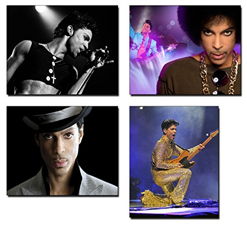 Prince Roger Nelson Memorabilia Photo Prints - Four Piece 8 x 10 Set of Music Singer Posters - Purple Rain Greatest Hits Poster - Musician Collectible Merchandise Wall Art Decor