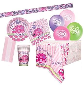 Unique Party- Kit para 8 de Fiesta de Primer cumpleaños con Mariquita, Color Rosa (83169)