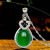 Sumanee Elegant Women Green Natural Emerald & Diamond Wedding Silver Pendant Jewelry New