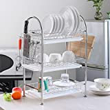 NEX Dish Rack Stainless Steel Three-Tier Draining Rack Rustless Storage Rack with Chopsticks Holder(D011)