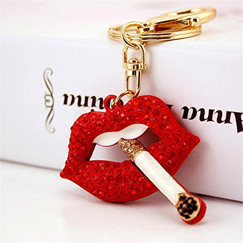 (Red Lip with Cigarette Shape Sparkling Charm Blingbling Keychain Crystal Rhinestone Pendant (Red))