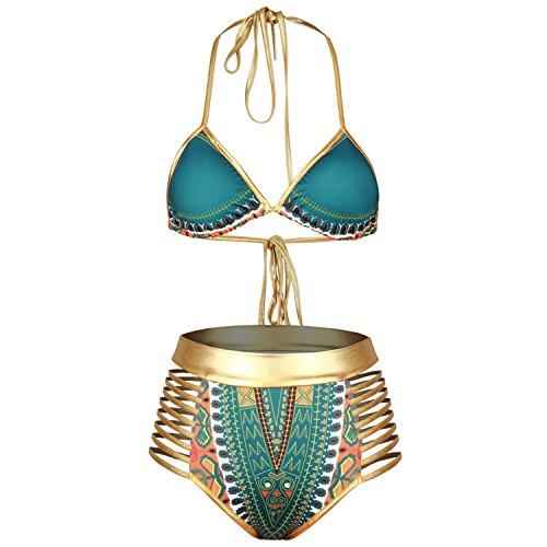 Hovisi Womens Push up Padded Bikini Print Metallic Bottom Swimsuit (M, green)