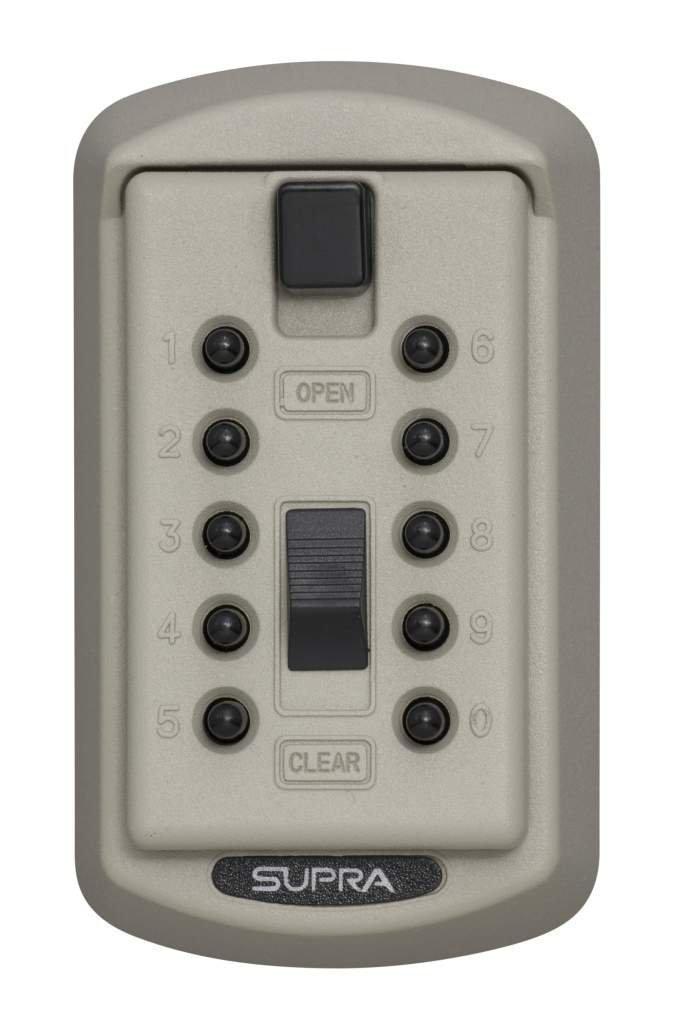 Kidde AccessPoint 001414 KeySafe Original Slimline Push Button Combination Permanent Key Lock Box, 2-Key, Clay
