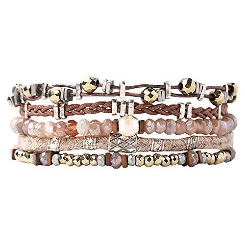 Chan Luu 5 Strand Silver Cuff Bracelet in Botwsana Agate Mix ()