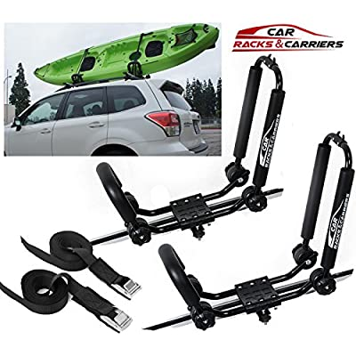 Car Rack & Carriers Universal Kayak Carrier Car Roof Rack Set of Two J-Shape Foldable Carrier for Canoe, SUP and Kayaks mounted on your SUV, Car Crossbar: Automotive