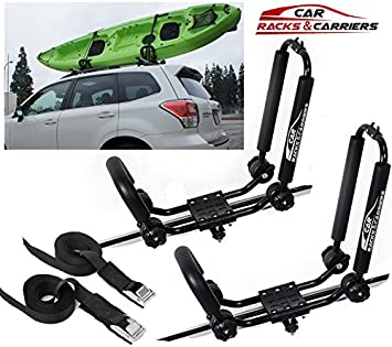 Car Crossbar Car Rack /& Carriers Universal Kayak Carrier Car Roof Rack Set of Two J-Shape Foldable Carrier for Canoe SUP and Kayaks mounted on your SUV