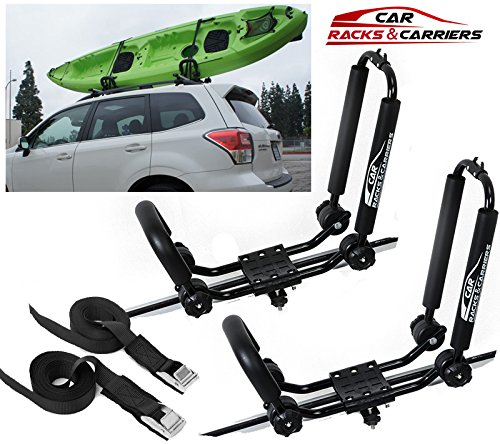 Car Rack & Carriers Universal Kayak Carrier Car Roof Rack Set of Two J-Shape Foldable Carrier for Canoe, SUP and Kayaks mounted on your SUV, Car Crossbar by Car Rack & Carriers