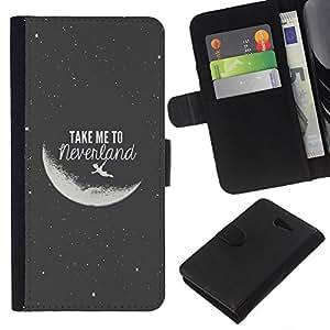 EJOY---La carpeta del tirón la caja de cuero de alta calidad de la PU Caso protector / Sony Xperia M2 / --Take Me To The Moon Gris Negro Noche Cosmos