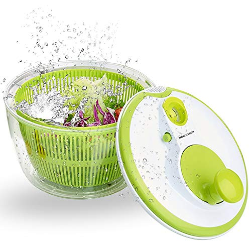 Salad Spinner LOVKITCHEN Large 5 Quarts Fruits and Vegetables Dryer Quick Dry Design BPA Free Dry Off & Drain Lettuce and Vegetable with Ease for Tastier Salads and Faster Food Prep