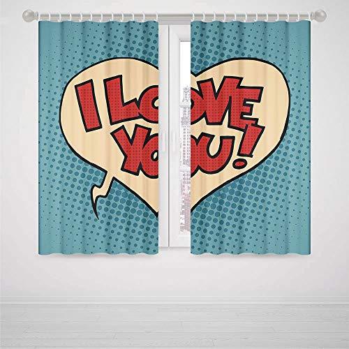 iPrint pom pom Blackout Curtains I Love You Pop Art Style Retro Comic Strip Love Bubble Artistic Cartoon Graphic Decorative High-Precision Blackout CurtainPetrol Blue Red Ivory
