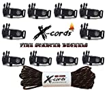 X-cords Emergency Fire Starter Buckle Contoured 1/2 to Make Paracord Bracelet Includes Paracord 850-use with 550 and 750 Cord. (10 Pack) c