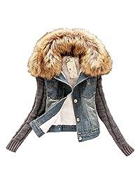 YOUMU Women White Faux Fur Fleece Denim Short Jacket Thicken Jean Sherpa Coat