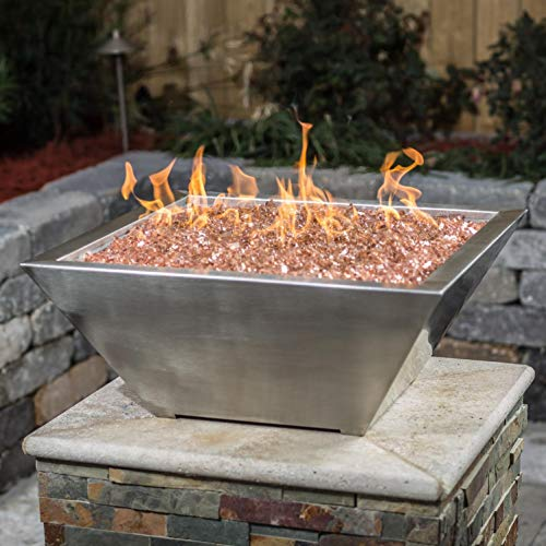 Lakeview Outdoor Designs Westfalen 24-Inch Square High-Rise Natural Gas Column Fire Bowl – Stainless Steel
