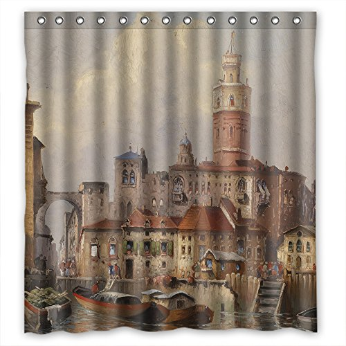 Husky Lambswool (Monadicase Polyester Beautiful Scenery Landscape Painting Bath Curtains Width X Height / 66 X 72 Inches / W H 168 By 180 Cm Gift Or Decor For Artwork,couples,bf,girls,her. Wipe Clean - Fabric)