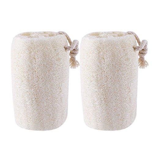 ROSENICE Natural loofah Exfoliating Bath Scrubber Sponge Pack of 2