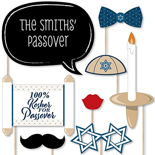 Custom Happy Passover - Photo Booth Props - Personalized Pesach Jewish Holiday Party Supplies - 20 Selfie - Happy Photo Holiday Personalized