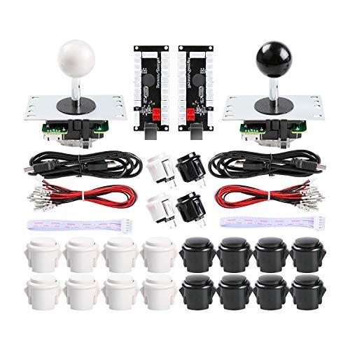 Hikig 2-Player DIY Arcade Kit 20x Arcade Buttons + 2X Arcade Joystick + 2X Zero Delay USB Encoder for PC, MAME, PS3, Raspberry Pi Color: White & Black