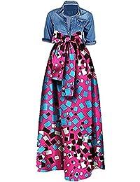 e22bd5cb781 Women s African Print Dashiki Long Maxi A Line High Waist Skirt Ball Gown(M-