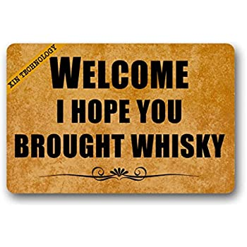 Artsbaba Welcome Entrance Doormat I Hope You Brought Whisky Door Mat Rubber Non-Slip Entrance Rug Floor Door Mat Funny Home Decor Indoor Mat 23.6 x 15.7 Inches