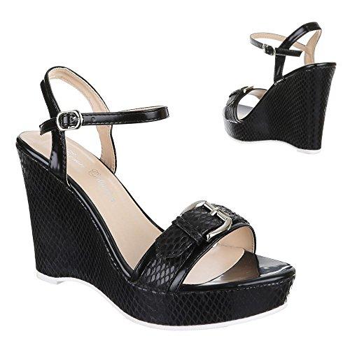 Design Sandales femme Ital Sandalettes Noir AxwdxHR