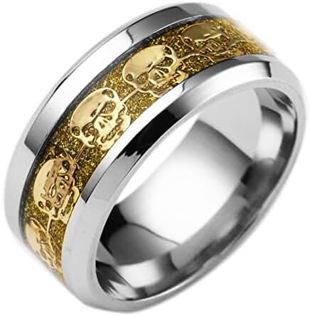 DALARAN Mens Stainless Steel Rings Skull Pattern for Men Women Cool Band 8mm Ring for Boys Girls