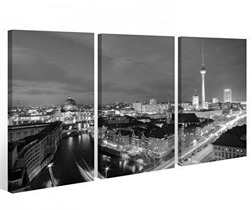 Leinwand 3 tlg. Berlin schwarz weiß Skyline Stadt Bilder Wandbild City 9A502 Holz-fertig gerahmt -direkt Hersteller, 3 tlg BxH 120x80cm (3Stk 40x 80cm)