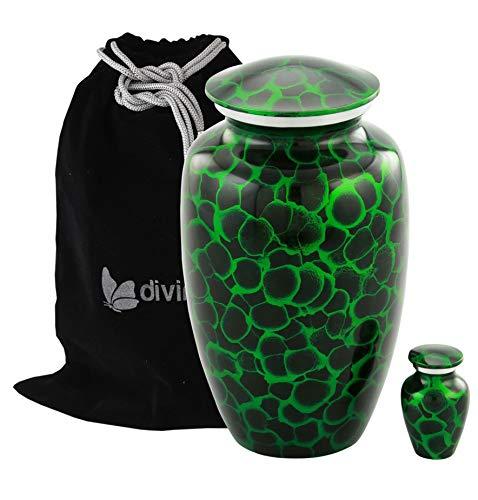 Tiger Eye Adult Cremation Urn Set - Beautifully Handcrafted Adult Funeral Urn - Solid Metal Urn - Affordable Urn for Human Ashes with Free Keepsake & Velvet Bag (Green)