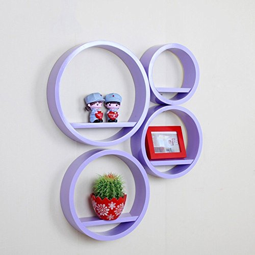 HOMEE round Creative Lattice Decoration Shelf Paint Tv Background Wall Shelves Wall Racks Wall Hanging Wall Decoration (Multiple Styles Available),R by HOMEE