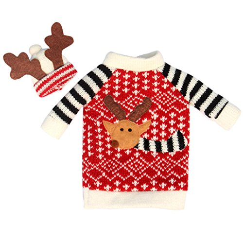 Lookatool Christmas Deer High-Quality Sweater Wine Bottle Cover and Hat
