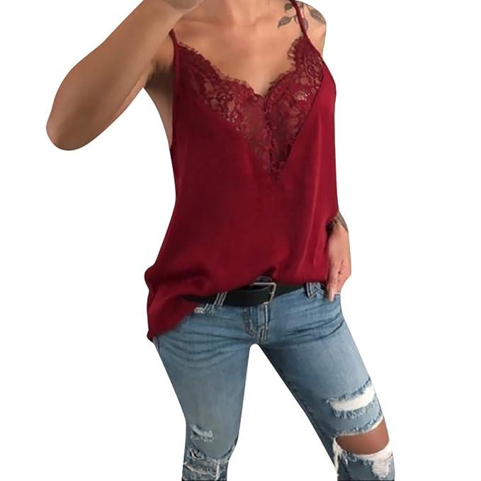 b7bffd53949 Top Sexy de Encaje con Escote en Pico y Encaje Mujeres Camisetas Manga  Larga Blusas de Encaje Flores Lace Crochet Sin Tirantes Camisas Shoulder  Off Lace ...