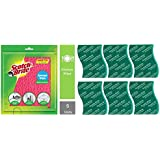 Scotch-Brite Sponge Wipe (5 Pcs) & Scrub Pad, Large (Pack of 6) Combo