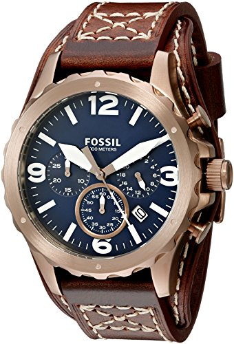 Fossil Men S Jr1505 Nate Chronograph Brown Leather Watch