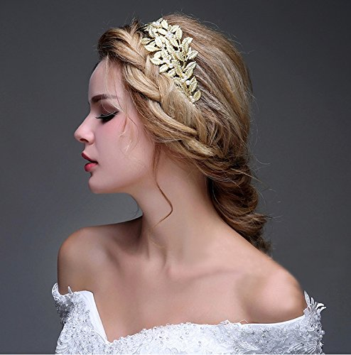 OUMOU Women's Gold Leaf  Pearl Bridal Headband – Handmade Tiara and Crown for Wedding Party