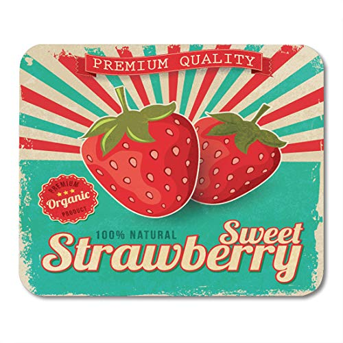 Nakamela Mouse Pads Fruit Green Jam Colorful Vintage Strawberry Label Red Candy Field Mouse mats 9.5