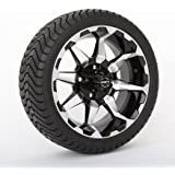"14"" STI HD6 Machined/Black Golf Cart Wheels and 215/35-14 DOT ComfortRide Tires Combo - Set of 4"