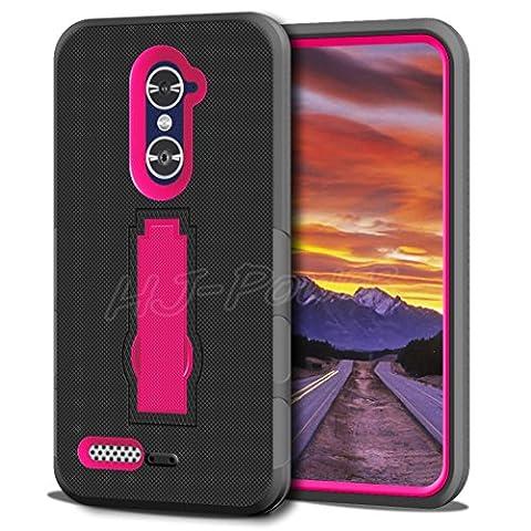 ZTE Zmax Pro Case, HJ Power[TM] For ZTE Zmax Pro / Z981 (MetroPCS)--Hybrid Hard Rubber w T Stand Case Pink (Zte Zmax Phone Case Pink Hybrid)
