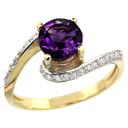14k Yellow Gold Natural Amethyst Swirl Design Ring Diamond Accent Round 6mm, 1/2 inch wide, size (Gold Swirl Design Ring)