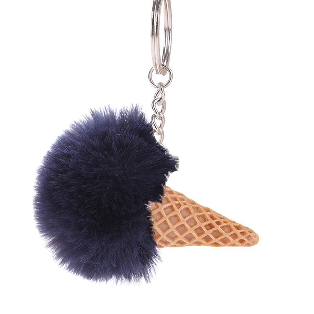 Finance Plan Hot Sale Fluffy Ice Cream Pompom Ball Charm Key Ring Holder Keychain Car Bag Pendant Dark Blue