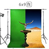 Green Screen Backdrops or Backgrounds 6х9ft – 100% Cotton Green Muslin Chromakey Screen Backdrops for Photography Videos Gaming – Includes 3 Clamps & a Carry Bag by MUVR lab