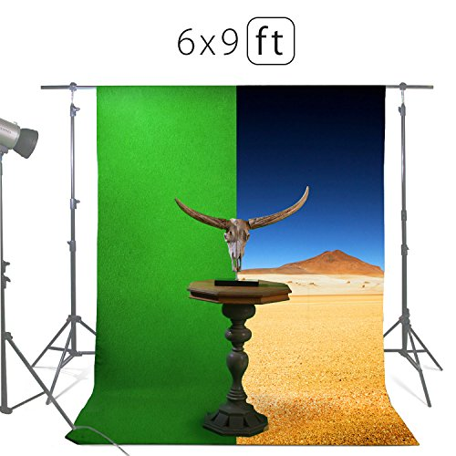 Tv Costume Set (Green Screen Backdrops or Backgrounds 6х9ft – 100% Cotton Green Muslin Chromakey Screen Backdrops for Photography Videos Gaming – Includes 3 Clamps & a Carry Bag by MUVR)