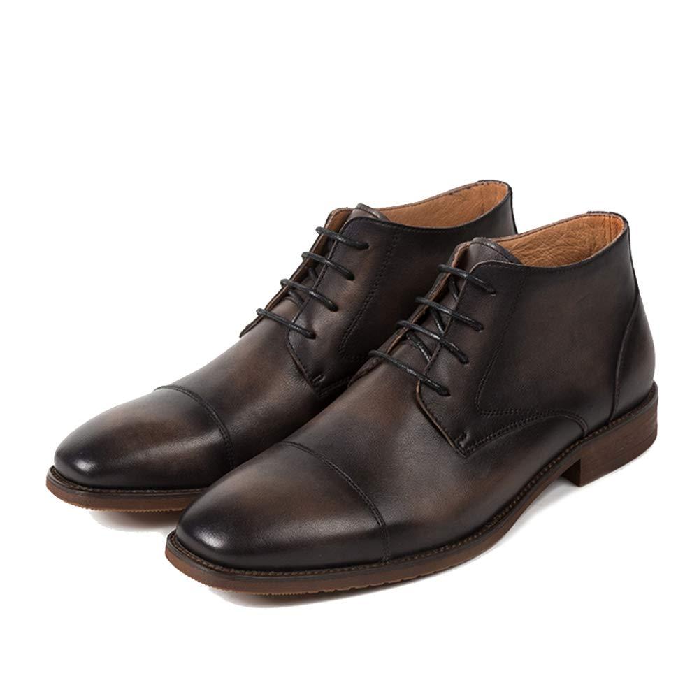 Liabb Zapaños para Hombre ata Sube Chukka de Cuero auténtico de Alta Tops Casuales Martin botas de los Regaños del Trabaño del Tobillo botas de Navidad Calzaño,Darkmarrón,38 -