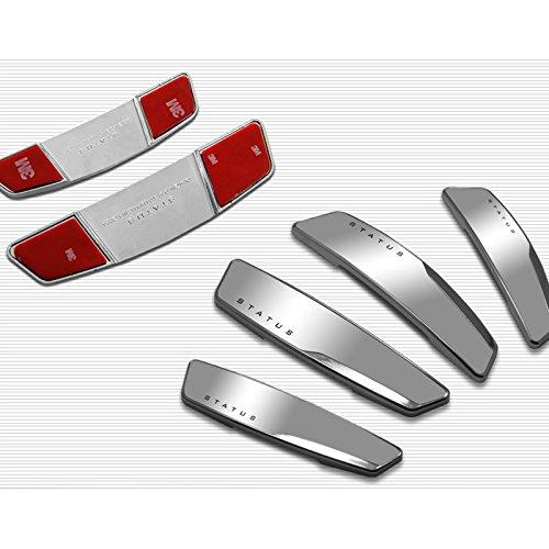 Status 4 Pcs High Glossy Slim Door Edge Guards Bumper Protector Trim Guard Sticker Molding for Motors Auto Vehicle Silver Color